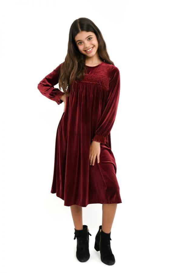שמלות צנועות שמלת טליה בורדו
