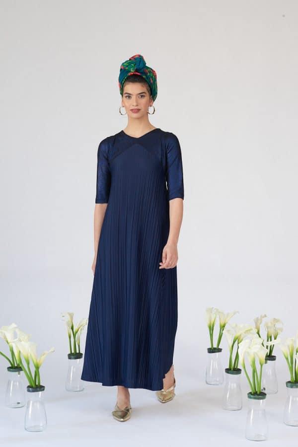 שמלת תורמוס מקסי כחולה
