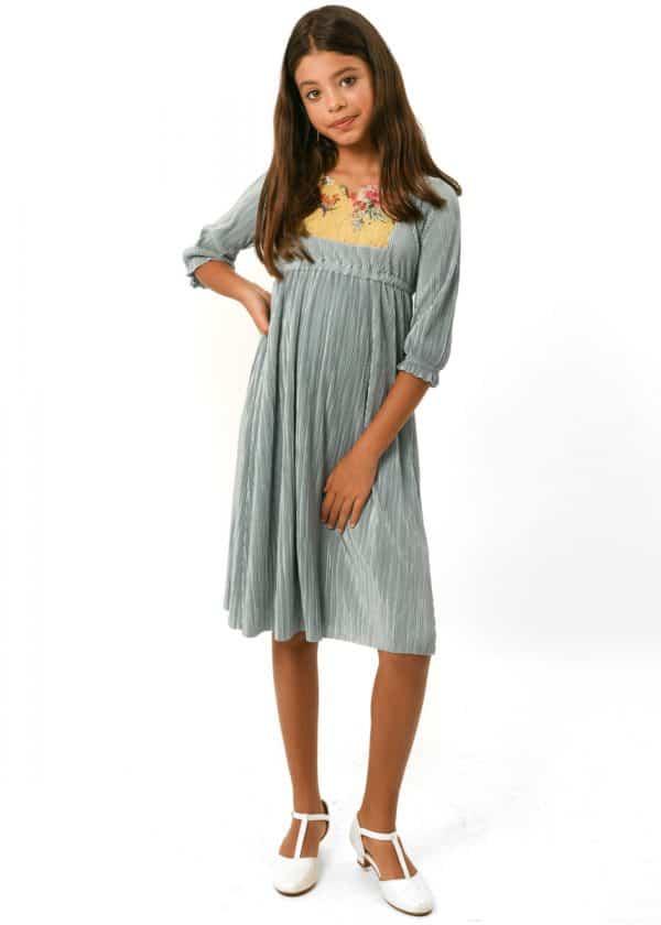 שמלות צנועות שמלת שהם מנטה ריקמה חרדל
