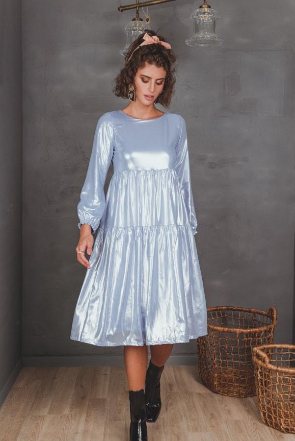 שמלות צנועות שמלת זוהר תכלת