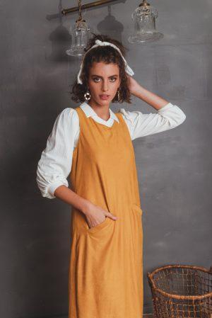 שמלות צנועות סרפן חרדל