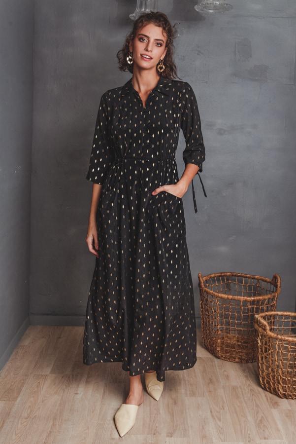 שמלות צנועות שמלת דרור שחורה