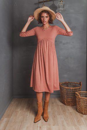 שמלות צנועות שמלת ניצן אפרסק