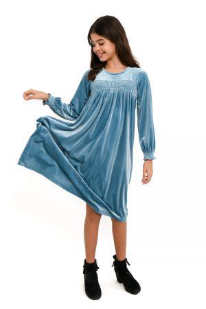 שמלות צנועות שמלת טליה תכלת