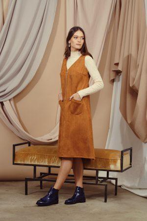 שמלות צנועות סרפן זמש כאמל