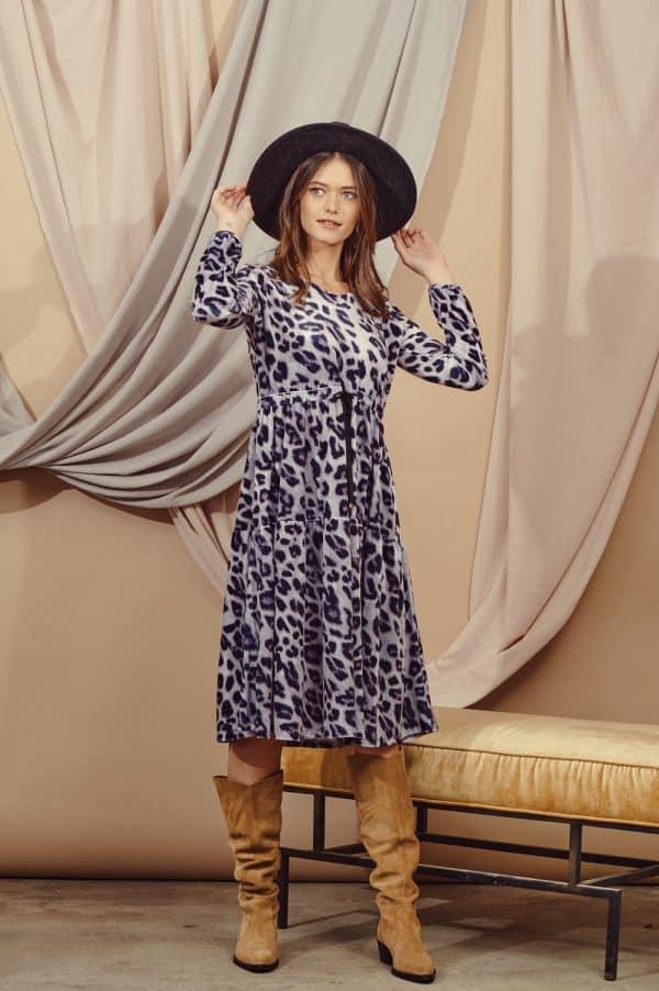 שמלות צנועות קטיפה מנומרת אפור