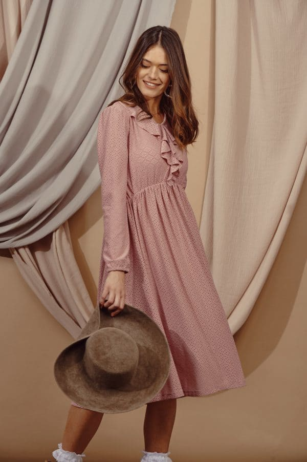 שמלות צנועות שמלת נילי ורודה