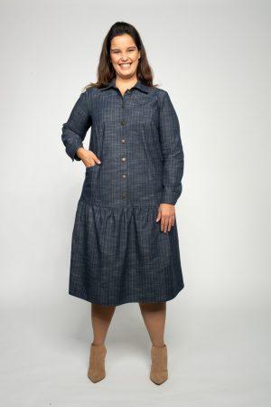 שמלות צנועות שמלת אליזבת ג'ינס פסים