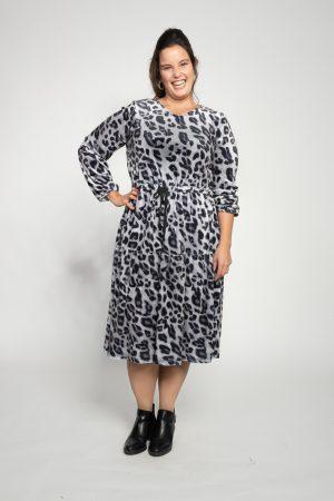 שמלות צנועות שמלת קטיפה מנומרת אפור
