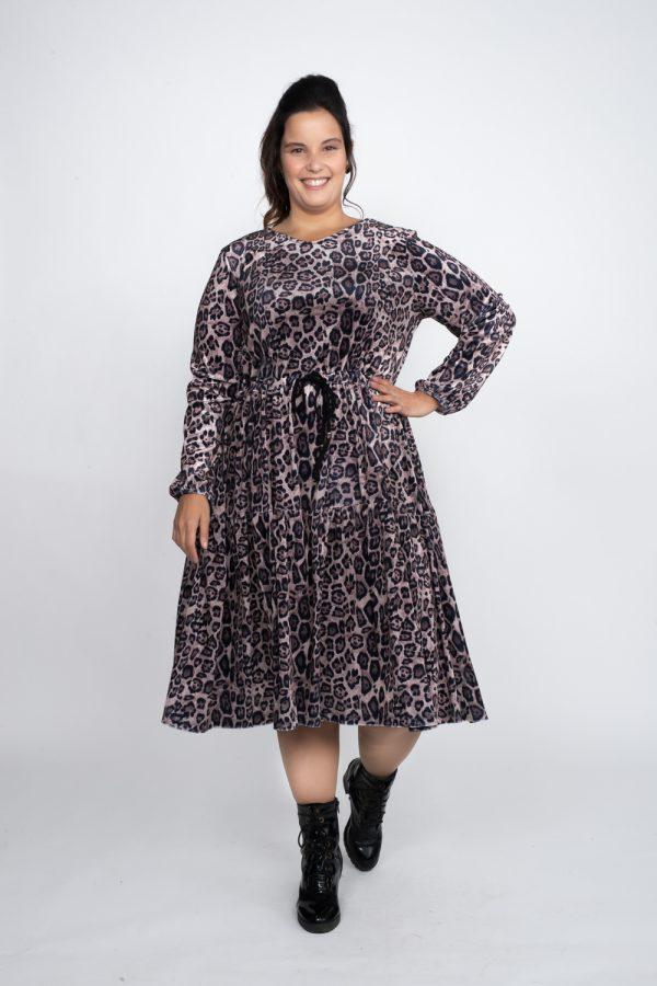 שמלות צנועות - שמלת קטיפה מנומרת מוקה